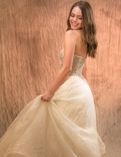 Female high school senior photography session with prom dress